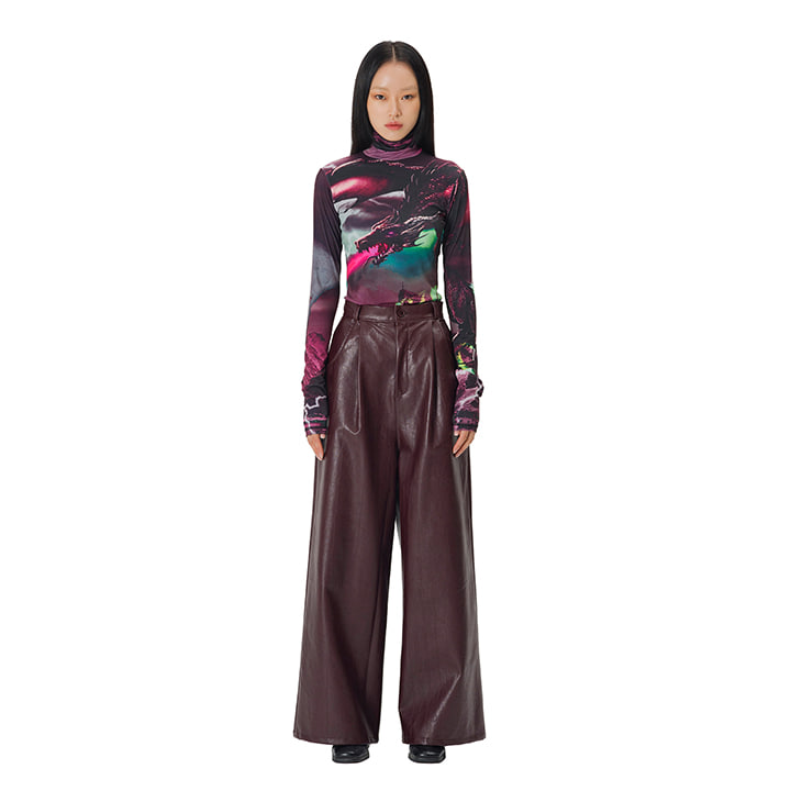 C LEATHER WIDE PANTS_BURGUNDY