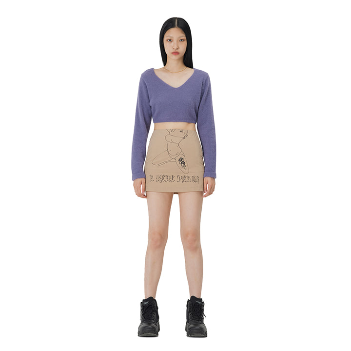 C GIRL PRINT MINI SKIRT_BEIGE