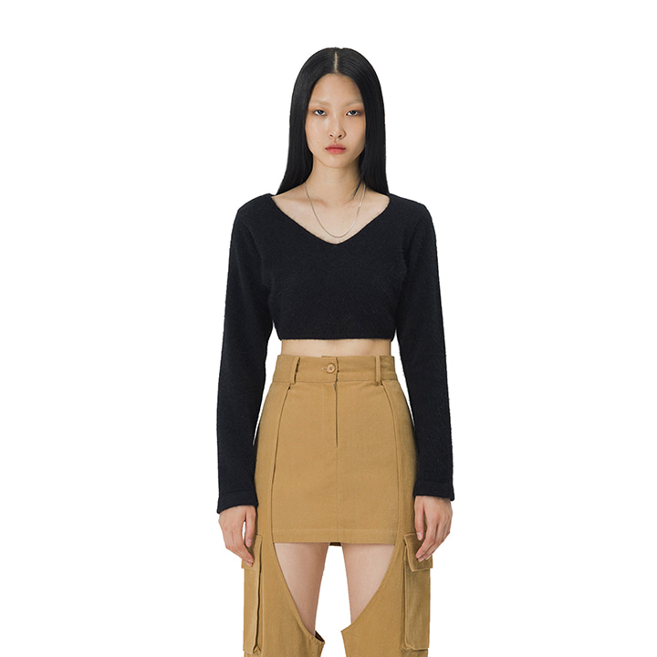 C ANGORA CROPPED KNIT TOP_BLACK