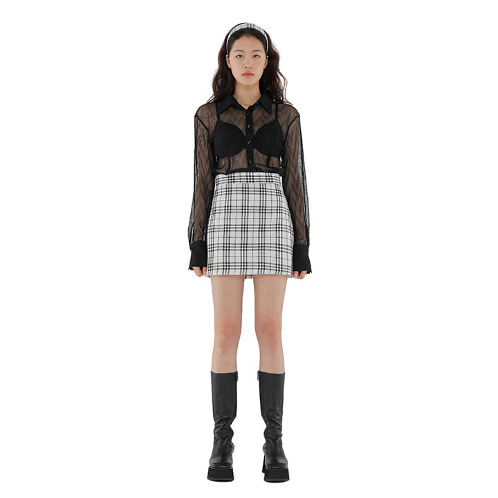 C GLITTER CHECK MINI SKIRT_WHITE