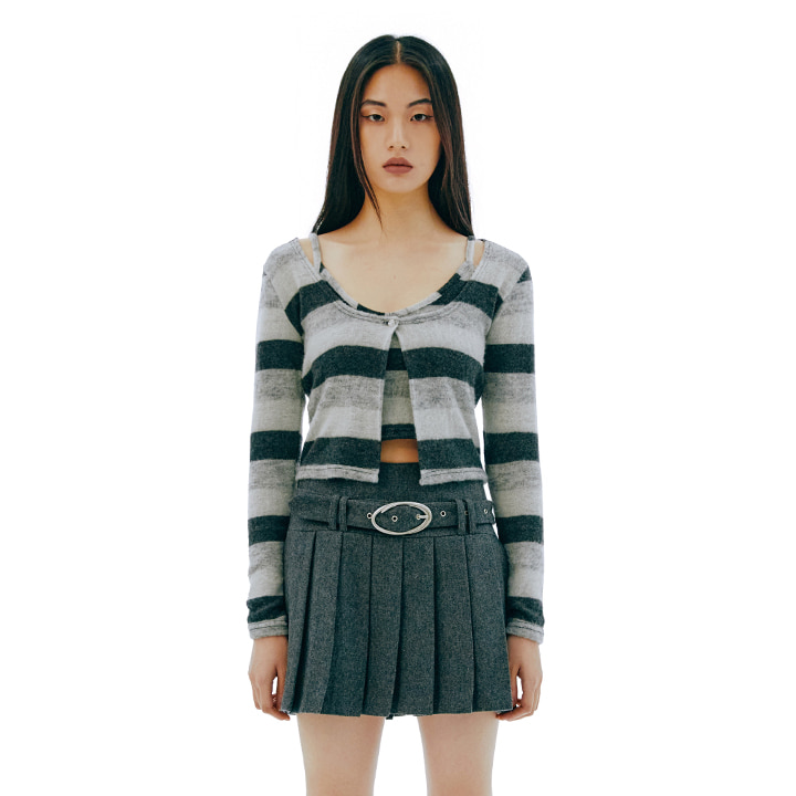 C STRIPE CARDIGAN SET TOP_GREY